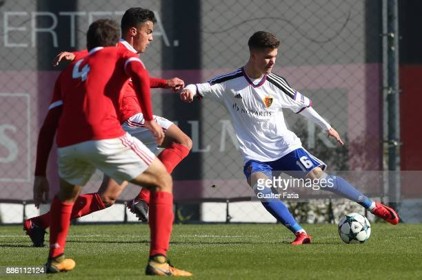 Basel forward Nicola Suter from Switzerland in action during the UEFA Youth League match between SL Benfica and FC Basel at Caixa Futebol Campus on...