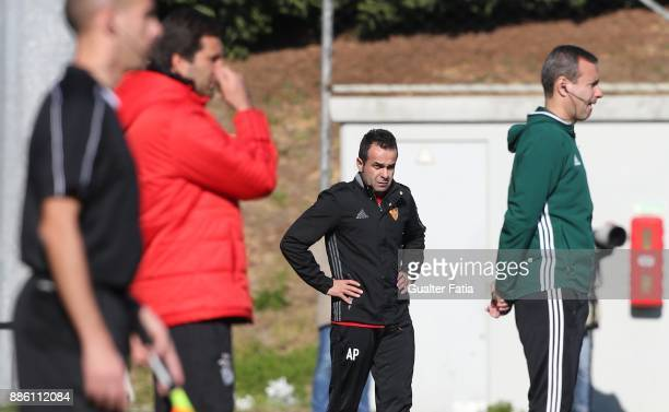 Basel head coach Arjan Peco from Switzerland looks on during the UEFA Youth League match between SL Benfica and FC Basel at Caixa Futebol Campus on...