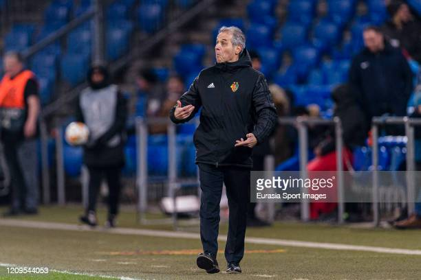 Basel Head Coach Marcel Koller gestures during the UEFA Europa League round of 32 second leg match between FC Basel and APOEL Nikosia at St JakobPark...