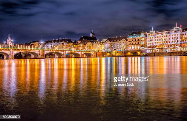 basel in christmas lights - basel switzerland stock pictures, royalty-free photos & images