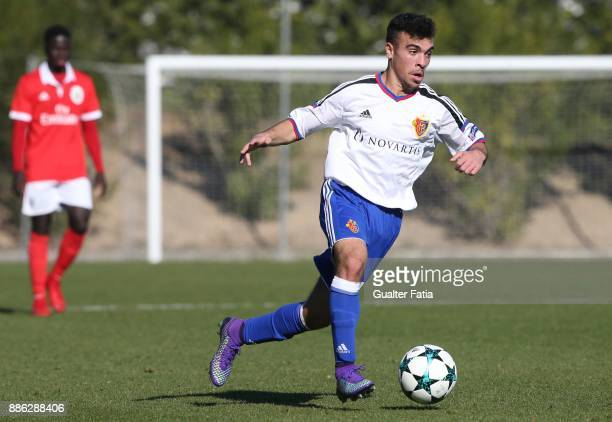 Basel midfielder Alessandro Stabile from Italy in action during the UEFA Youth League match between SL Benfica and FC Basel at Caixa Futebol Campus...