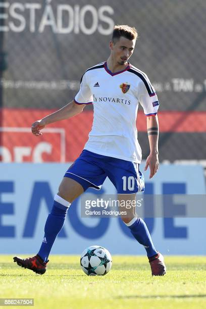Basel midfielder Dominik Schmid from Switzerland during SL Benfica v FC Basel 1893 UEFA Youth League round six match at Caixa Campus on December 05...