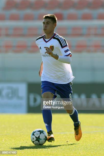 Basel midfielder Gezim Pepsi from Switzerland during SL Benfica v FC Basel 1893 UEFA Youth League round six match at Caixa Campus on December 05 2017...