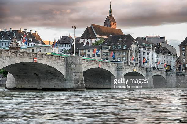 basel mittlere rheinbrucke  waterfront switzerland - basel switzerland stock pictures, royalty-free photos & images