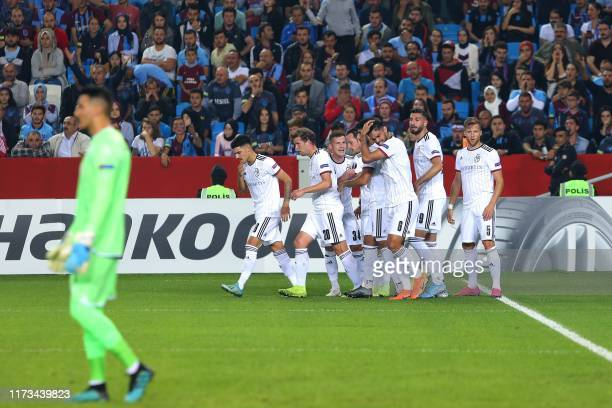 Basel players celebrate after scoring a goal during the UEFA Europa League group C football match between Trabzonspor and Basel at Medical Park...