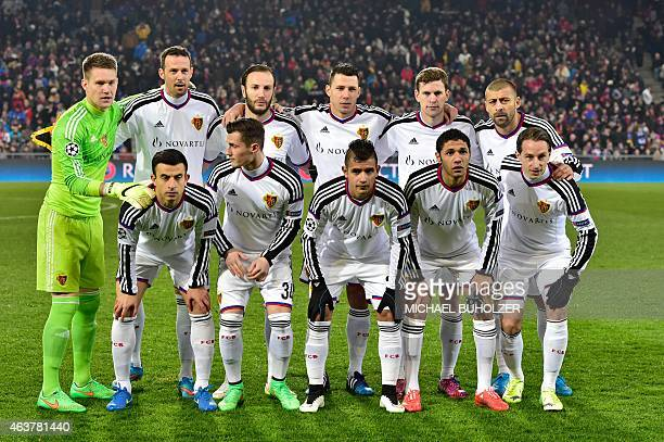 Basel players pose prior to the UEFA Champions League round of 16 first leg football match between Basel and Porto on February 18 2015 at the St...