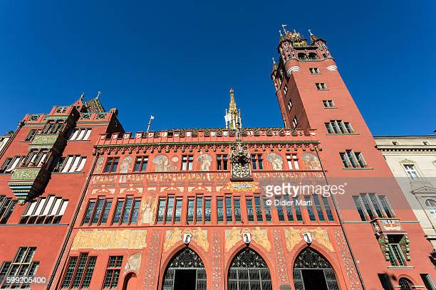 basel rathaus, or city hall, in switzerland. - town hall stock photos and pictures