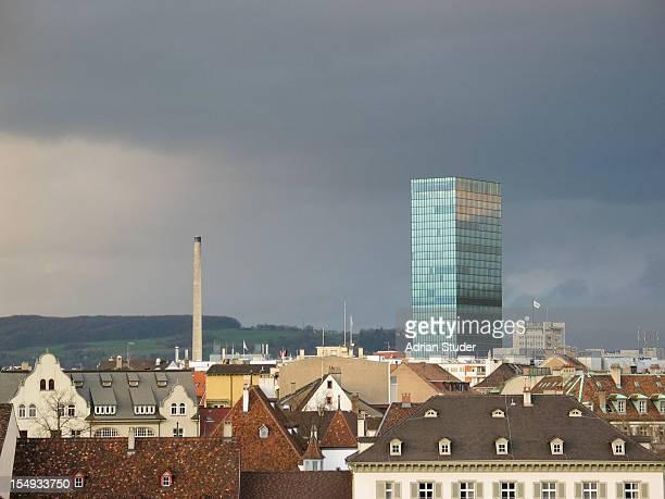 Basel rooftops with Messeturm