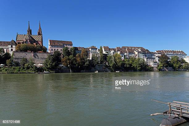 Basel skyline with cathedral, near Rhine River (Basel, Switzerland)