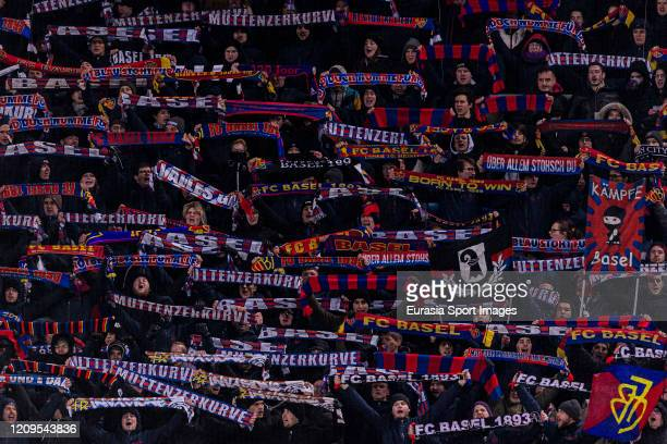 Basel supporters having fun during the UEFA Europa League round of 32 second leg match between FC Basel and APOEL Nikosia at St JakobPark on February...