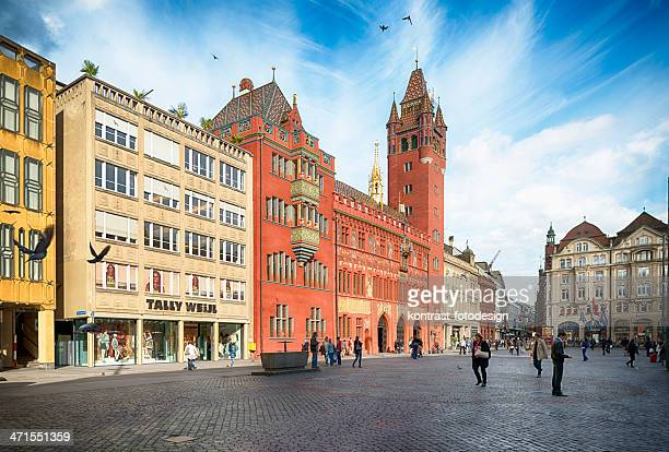 basel town hall and marktplatz switzerland - basel switzerland stock pictures, royalty-free photos & images