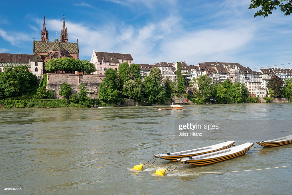 Basel With Rhine River : Stock Photo