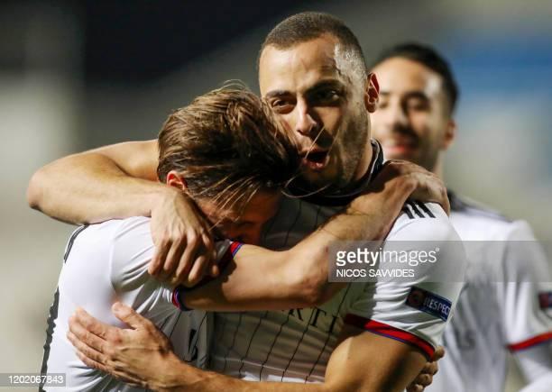 Basel's Brazilian forward Arthur Cabral celebrates after scoring a goal during the Europa League last 32 first leg football match between APOEL...