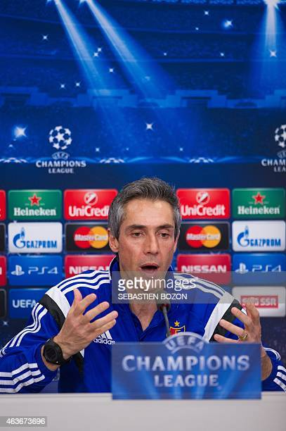 FC Basel's coach Paulo Sousa attends a press conference in Basel on February 17 on the eve of the Champions League football match between Basel and...