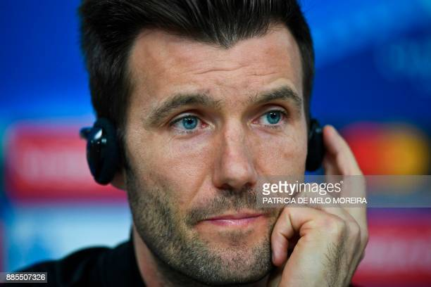 Basel's coach Raphael Wicky gives a press conference at Luz stadium in Lisbon on December 4 on the eve of the Champions League match group A SL...