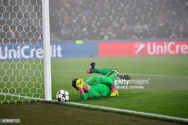 Basel's Czech goalkeeper Tomas Vaclik tries to catch the ball during the UEFA Champions league Group A football match between FC Basel 1893 and...