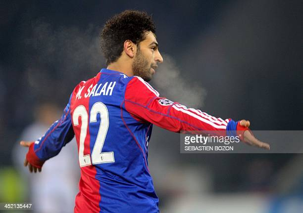 Basel's Egyptian midfielder Mohamed Salah celebrates scoring a goal during the UEFA Champions League group E football match between Basel and Chelsea...