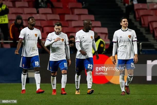 Basel's forward Dimitri Oberlin celebrates his goal with Basel's midfielder Renato Steffen Basel's defender Eder Balanta and Basel's defender Raoul...