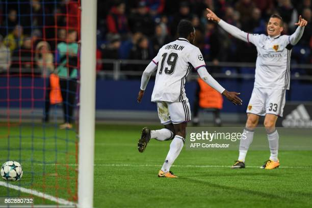 Basel's forward from Switzerland Dimitri Oberlin celebrates after scoring the team's second goal during the UEFA Champions League Group A football...