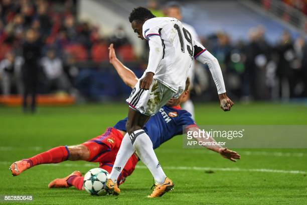 Basel's forward from Switzerland Dimitri Oberlin scores the team's second goal during the UEFA Champions League Group A football match between PFC...
