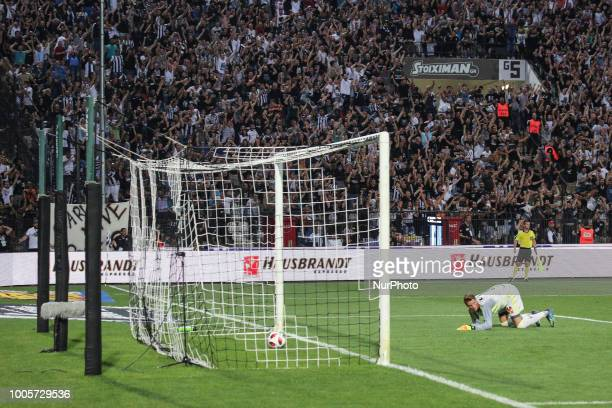 Basel's goalkeeper Jonas Omlin during Champions League second qualifying round first leg football match between PAOK FC and FC Basel at the Toumba...