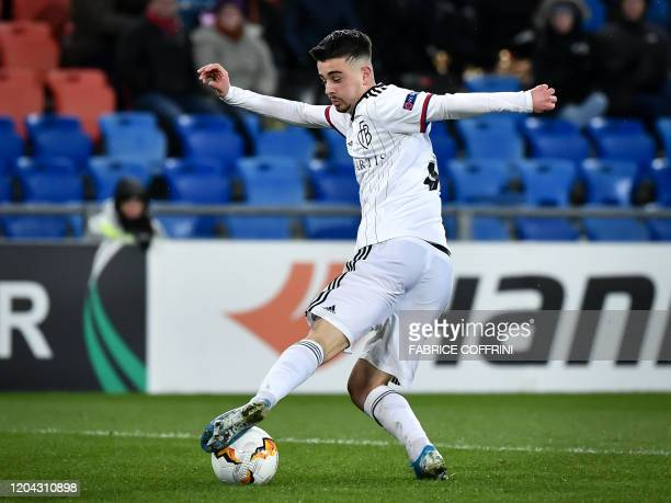 FC Basel's Kosovo forward Edon Zhegrova controls the ball during the UEFA Europa League Last 32 Second Leg football match between FC Basel and APOEL...