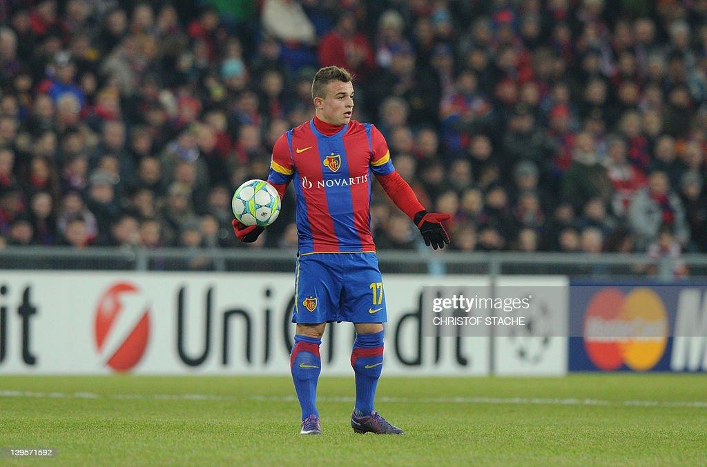 Basel's midfielder Xherdan Shaqiri react : News Photo