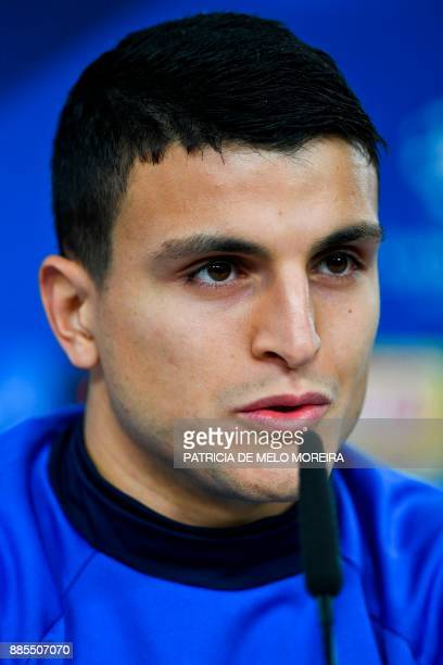 Basel's Norwegian midfielder Mohamed Elyounoussi gives a press conference at Luz stadium in Lisbon on December 4 on the eve of the Champions League...