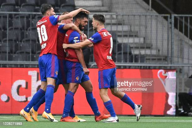Basel's Paraguayan defender Omar Alderete celebrates scoring his team's first goal during the Swiss Cup football final match between Basel 1893 and...