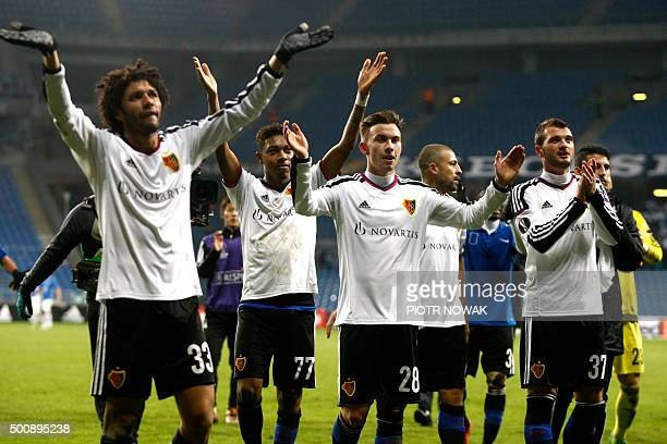 Basel's players celebrates winning after the UEFA Europa League football match between KKS Lech Poznan and FC Basel 1893 at Stadion Miejski in Poznan...