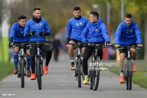 Basel's players Italian defender Raoul Petretta, Swiss midfielder Renato Steffen, Swiss forward Albian Ajeti, Swiss midfielder Taulant Xhaka and...