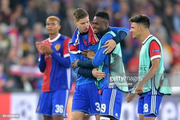 Basel's players Swiss defender Manuel Akanji Swiss forward Cedric Itten Swiss forward Dimitri Oberlin and Italian defender Raoul Petretta celebrate...