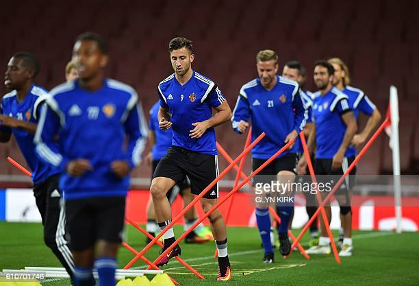 Basel's Slovenian striker Andraz Sporar takes part in a team training session at the Emirates stadium in London on September 27 2016 ahead of their...