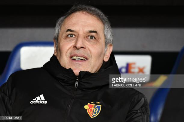FC Basel's Swiss coach Marcel Koller looks on prior to the UEFA Europa League Last 32 Second Leg football match between FC Basel and APOEL FC at St...