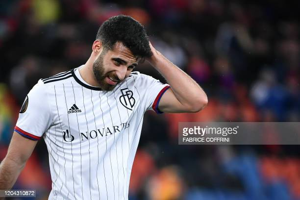 FC Basel's Swiss defender Eray Cumart reacts during the UEFA Europa League Last 32 Second Leg football match between FC Basel and APOEL FC at St...