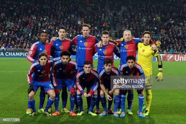 Basel's Swiss defender Kay Voser Basel's Egyptian midfielder Mohamed Salah Basel's Swiss midfielder Taulant Xhaka Basel's Swiss midfielder Valentin...