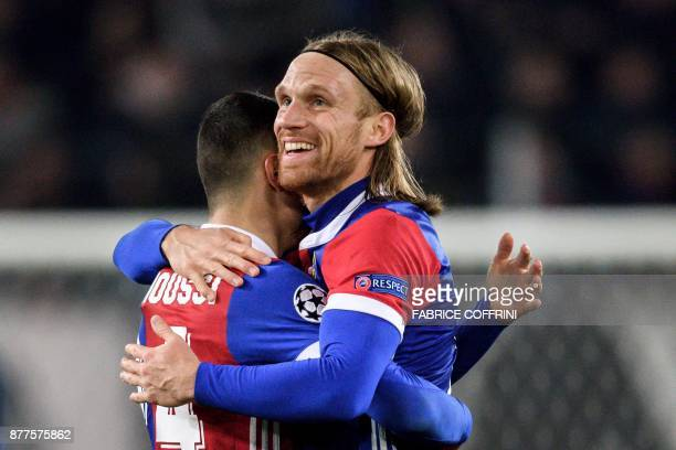Basel's Swiss defender Michael Lang who scored the only goal reacts at the end of the UEFA Champions League Group A football match between FC Basel...
