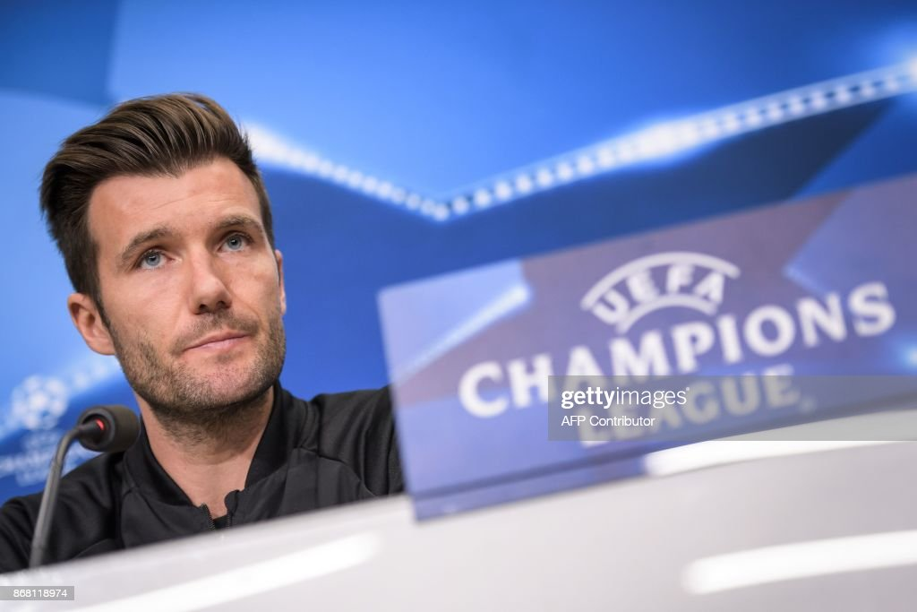 Basel's Swiss head coach Raphael Wicky looks on during a press conference on the eve of the UEFA Champions League Group A football match between FC Basel and CSKA Moscow on October 30, 2017 in Basel. / AFP PHOTO / Fabrice COFFRINI