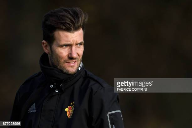 Basel's Swiss head coach Raphael Wicky looks on during a training session on the eve of the UEFA Champions League Group A football match between FC...
