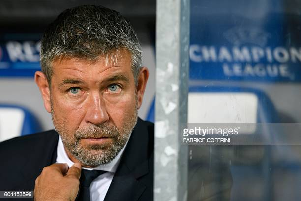 Basel's Swiss head coach Urs Fischer looks on prior to the UEFA Champions League group A football match between FC Basel 1893 and PFC Ludogorets...