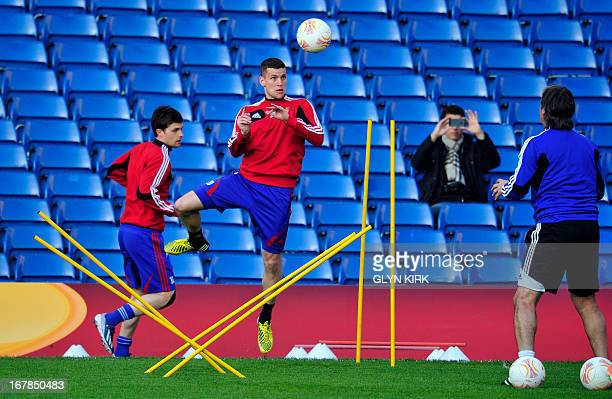 Basel's Swiss midfielder Fabian Frei takes part in a training session at Stamford Bridge London on May 1 2013 on the eve of their UEFA Europa League...
