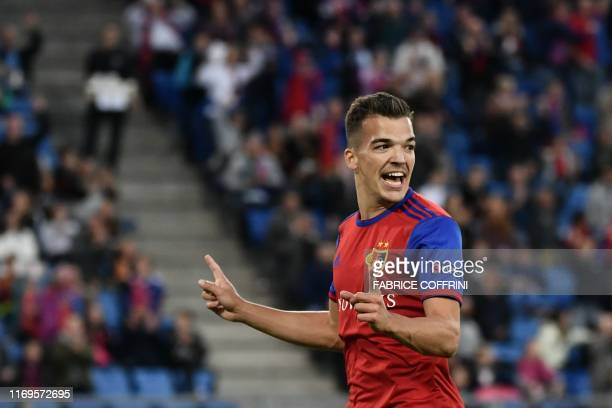 Basel's Swiss midfielder Kevin Bua celebrates after scoring his team's second goal during the UEFA Europa League group C football match between Basel...