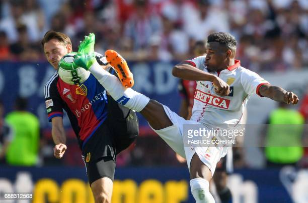 FC Basel's Swiss midfielder Luca Zuffi vies wirth FC Sion's Swiss midfielder Joaquim Adao during the Swiss football cup final between FC Basel and FC...