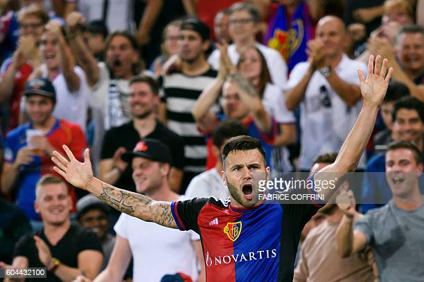 Basel's Swiss midfielder Renato Steffen celebrates after scoring a goal during the UEFA Champions League group A football match between FC Basel 1893...