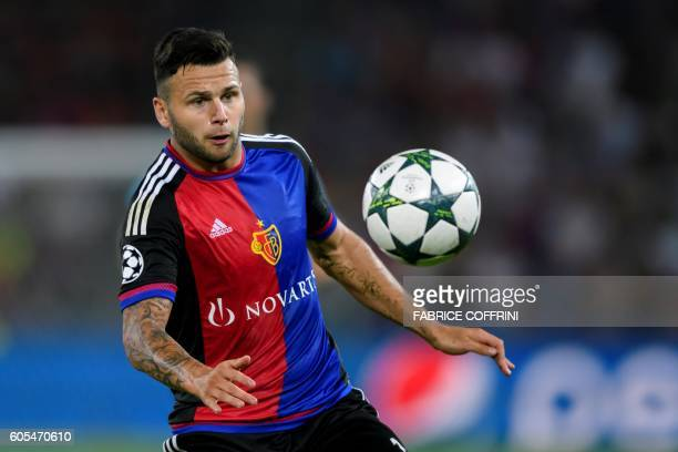 Basel's Swiss midfielder Renato Steffen controls the bal during the UEFA Champions League group A football match beetween FC Basel 1893 and PFC...