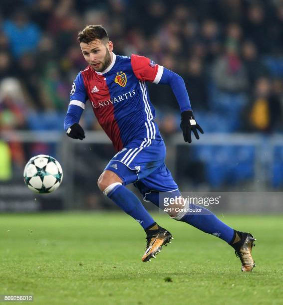 Basel's Swiss midfielder Renato Steffen controls the ball during the UEFA Champions League Group A football match between FC Basel and CSKA Moscow at...