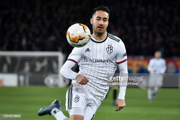 FC Basel's Swiss midfielder Samuele Campo controls the ball during the UEFA Europa League Last 32 Second Leg football match between FC Basel and...