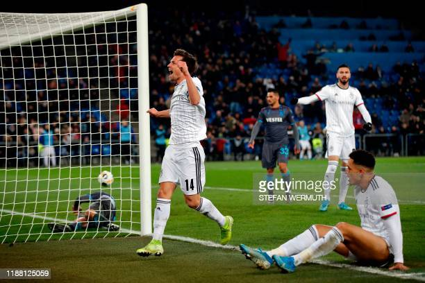 Basel's Swiss midfielder Valentin Stocker celebrates after scoring during the UEFA Europa League Group D football match between FC Basel 1893 and...