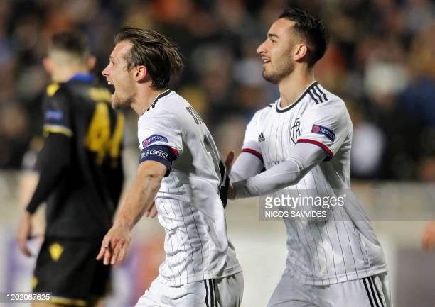 Basel's Swiss midfielder Valentin Stocker celebrates with FC Basel's Swiss midfielder Samuele Campo after scoring a goal during the Europa League...