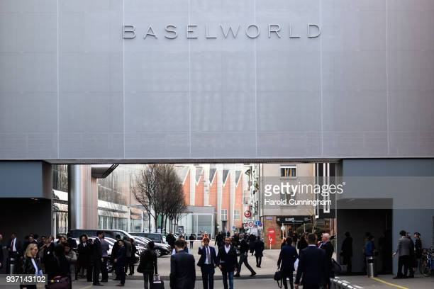 BaselWolrd logo is displayed at the BaselWolrd watch fair on March 23 2018 in Basel Switzerland The annual watch trade fair sees the very latest...
